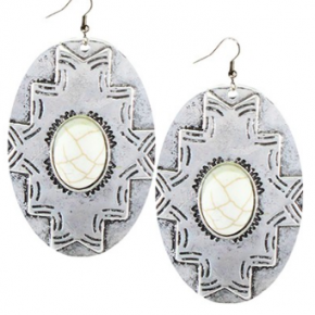 Cream and Silver Aztec Earrings