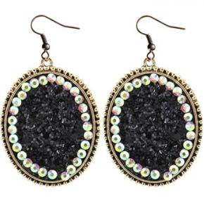 Glitter Crystal Earrings | Black