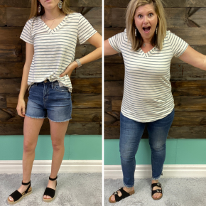 Sage Striped V Neck | Small to Large