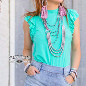 Turquoise Ruffle Tank | Small to 2X