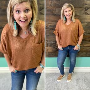 Oversized Sweater V Neck | Camel | Small to Large