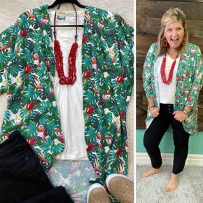 Hawaiian Cactus Kimono | Small to 3X