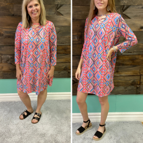Coral Pink Aztec Criss Cross Dress | Small to 2X