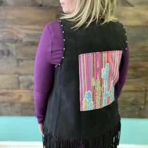 RR DEAL | Black Fringe Vest with Cactus Scene *Final Sale*