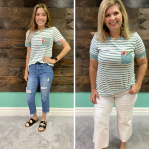 Sage Striped Floral Pocket Tee | Small to Large