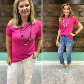 Off the Shoulder Top | Pink | Small to 2X *Final Sale*