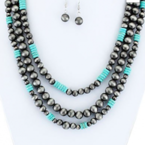 Triple Strand Navajo Bead and Turquoise Necklace