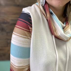 RR DEAL | Serape Aztec Cowl Neck White | Small to Large *Final Sale*