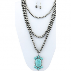 Triple Strand Turquoise Pendant Necklace | Silver
