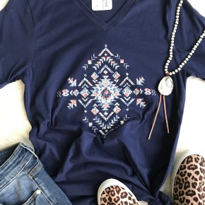 Paprika Aztec V Neck Tee | Small to 2X