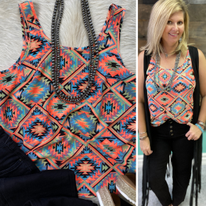 Neon Aztec Tank | Small to Large
