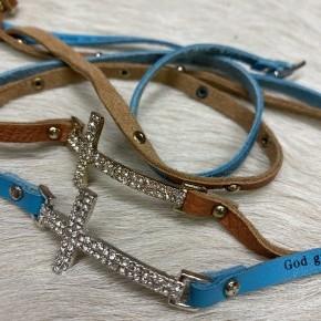 Cross Wrap Bracelets | Blue and Brown