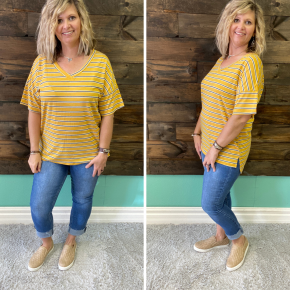 Mustard Striped Tee | Small to XL
