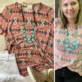 Aztec Print Coral | Small to XL