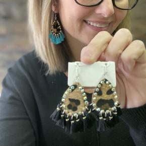 Hair on Hide Tassel Earrings | Black and Turquoise