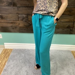 Turquoise Linen Pants | Small to 3X *Final Sale*