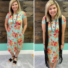 Mint Floral Dress | Small to Large