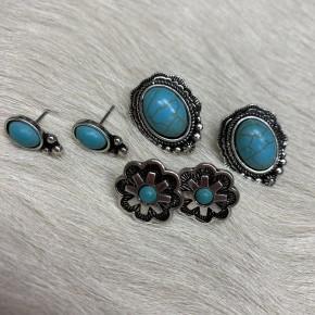 Turquoise Stud Earring Set | 3 Pairs