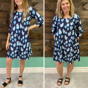 Navy Cactus Pocket Dress | Small to XL *Final Sale*