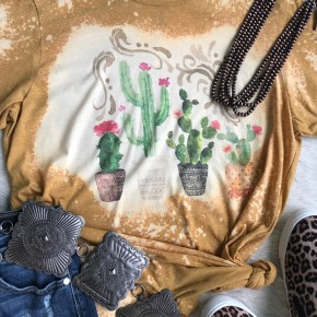 Cactus Pots Bleached Tee | Small to 2X