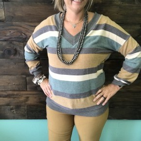 Teal and Mustard Striped V Neck Sweater | Small to 3X *Final Sale*