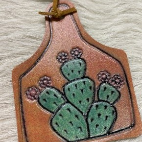 Leather Ear Tag Necklace | Cactus