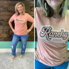 Ranchy Tee on Peach | Small to 2X