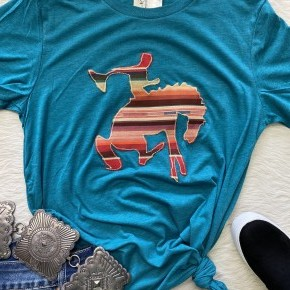 Hand Sewn Bucking Horse Tee | Small to 2X