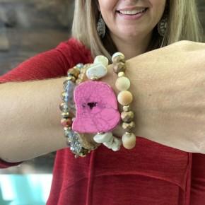 Pink Slab Stack Bracelets