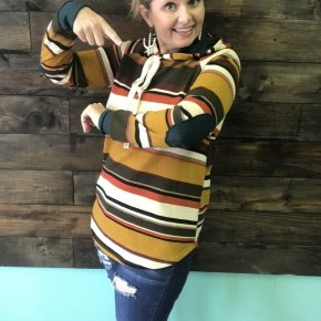 RR Deal Fall Stripes and Teal Hoodie | Small to Large *Final Sale*