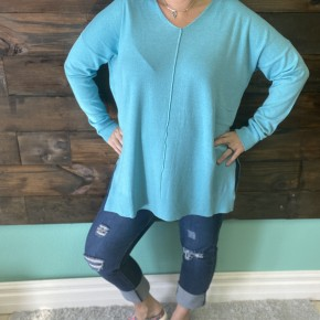 Split Side High Low Sweater | Ash Mint | Small to XL