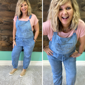 Light Denim Jogger Overalls | Small to Large
