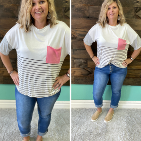 Ivory Striped Coral Pocket Tee | Small to 3X