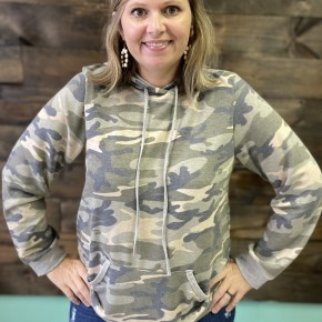 Camo French Terry Hoodie | Small to Large