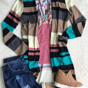 Jade and Rose Striped Cardigan Duster | Small to 3X *Final Sale*