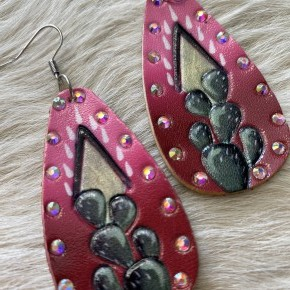 Pink and Red Tooled Leather Cactus Earrings