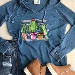 Cactus Pots French Terry Hoodie | Small to 2X