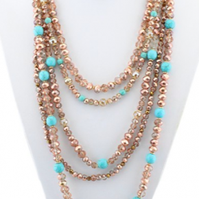 Rose Gold and Turquoise Beaded Necklace