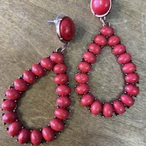 Red Teardrop Stone Earrings