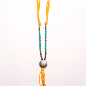 Mustard and Turquoise Tassel Necklace