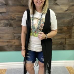 Long Fringe Vest | Black | Small to Large