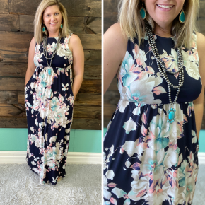 Navy Floral Printed Sleeveless Maxi Dress | Small to Large