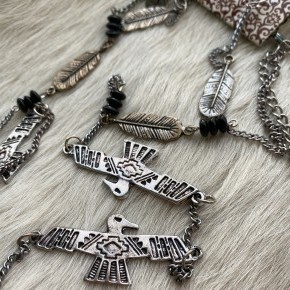 Thunderbirds and Feathers Necklace *Final Sale*
