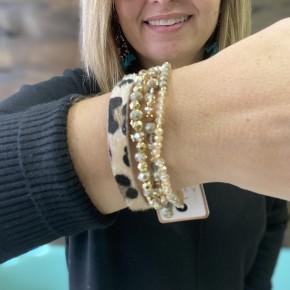 Hair on Leopard Stack Bracelets