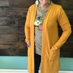 Brushed Knit Long Cardigan | Mustard | Small to 3X *Final Sale*