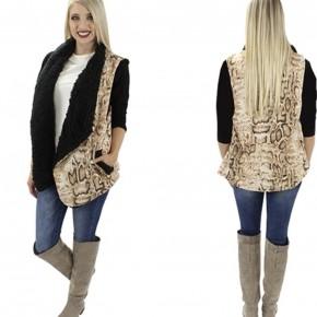 Snake Skin Vest,Taupe