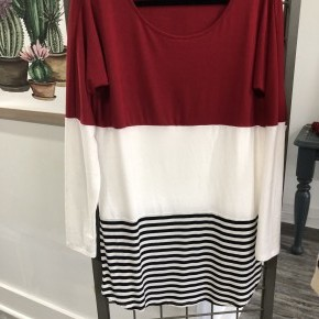Stripe Season Top,Red