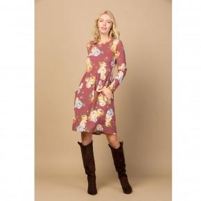 Long Sleeve Floral Swing Dress