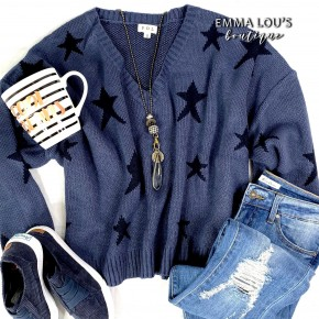 Low V-Neck Long Sleeve Star Contrast Detail Sweater