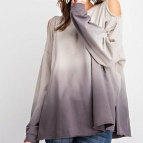 Dip Dye Cold Shoulder Sweatshirt